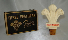 Vintage THREE FEATHERS Ivory Plastic Bottle Stopper POURER Barware Spout... - $19.50