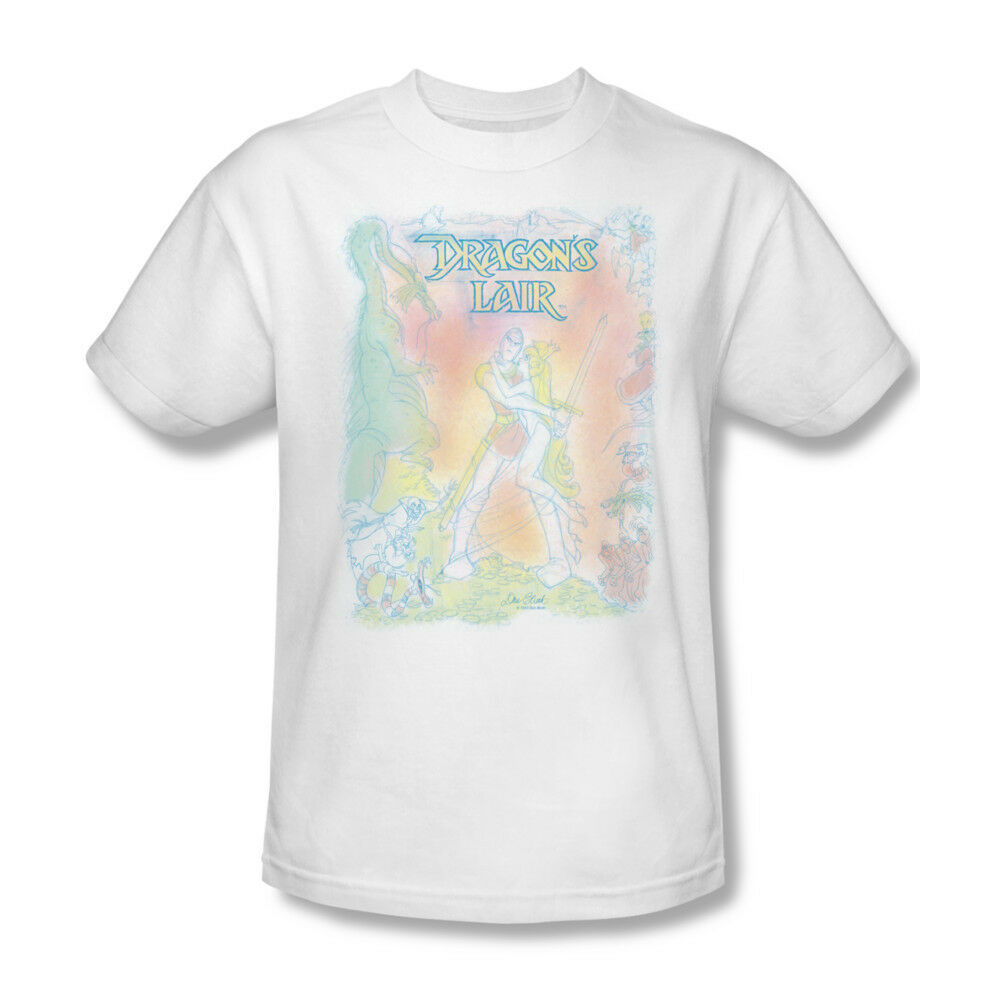 Dragon's Lair T-shirt Sketch Free Shipping arcade cotton white 80's tee CBS367