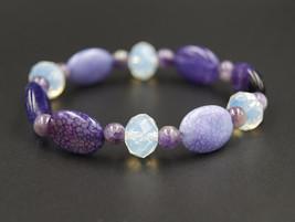 Genuine agate bracelet - handmade chakra bracelet - purple agate bead br... - $15.90
