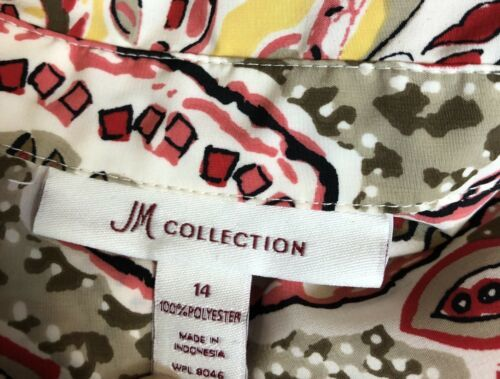 JM Collection Womens Size 14 Paisley Multicolored Long Sleeve Blouse