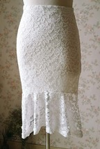 Ivory White Fitted Lace Midi Length Skirt High Low Mermaid Skirt Plus Size  image 5