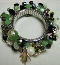 Spandex Bracelet #78 Spring Green, Black Jet, Cloisonne, Pearls on Stainless - $65.00
