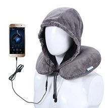 Premium Hooded Neck Pillow Airplane Travel Pillow with Music Earbuds grey - $64.92 CAD