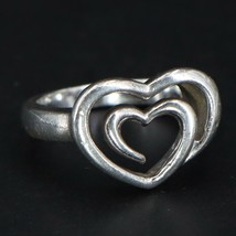 Vintage Sterling Silver Heart Ring Marked SLV 925 - Size 6.75 - $42.00