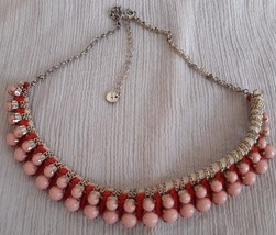 Ann Taylor LOFT Necklace Pink/Red/White bead string gold/silver tone choker - $9.99