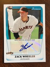 2010 Bowman Zack Wheeler BPA-ZW RC Baseball Card Auto USA Giants NM/M Co... - $24.99