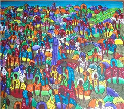 "Rare Signed B. MASCARY Haitian Art ""Women In The Marketplace"" Acrylic Pa... - $771.99"