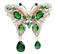 Retro Fashion Brooch Female Crystal Butterfly Brooch Diamond Brooch,Green