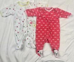 Carters Fleece Blanket Sleeper / Terrycloth Pajamas Baby Girls NB Newborn - $19.81
