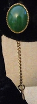 Vintage 1950s Gold Plate Oval Chinese Nephrite Jade Cabochon Chain Tie S... - $48.98