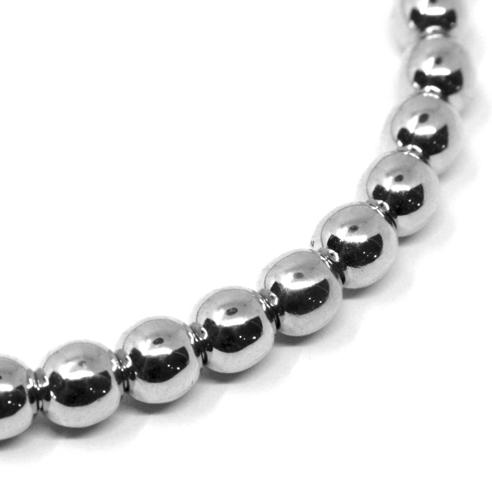 18K WHITE GOLD BRACELET, SEMIRIGID, ELASTIC, BIG 5 MM SMOOTH BALLS SPHERES
