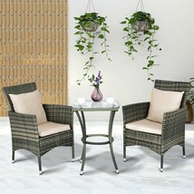 Gray Resin Wicker 3 Piece Patio Chair & Side Table Set Outdoor Furniture... - $152.95