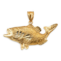 Yellow Gold DC Textured Sea Bass Fish Pendant - $199.99