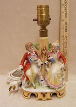 VINTAGE GERMAN PORCELAIN LAMP MAN & LADY SITTING DESIGN - $98.99