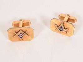 Vintage Anson 12K GF Gold Filled Masonic Blue Enamel Cuff Links - $23.76
