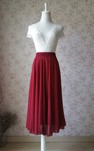 Women Burgundy Chiffon Skirt Burgundy Chiffon Midi Skirt Beach Skirt Plus Size image 3