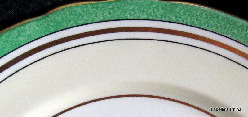 "Aynsley England 8"" Salad Plate Green Flowers 7359 English Bone China Gilt Trim image 2"