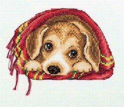 Klart Counted Cross Stitch Kit - Cosy Blanket - Puppy in Blanket - $12.61