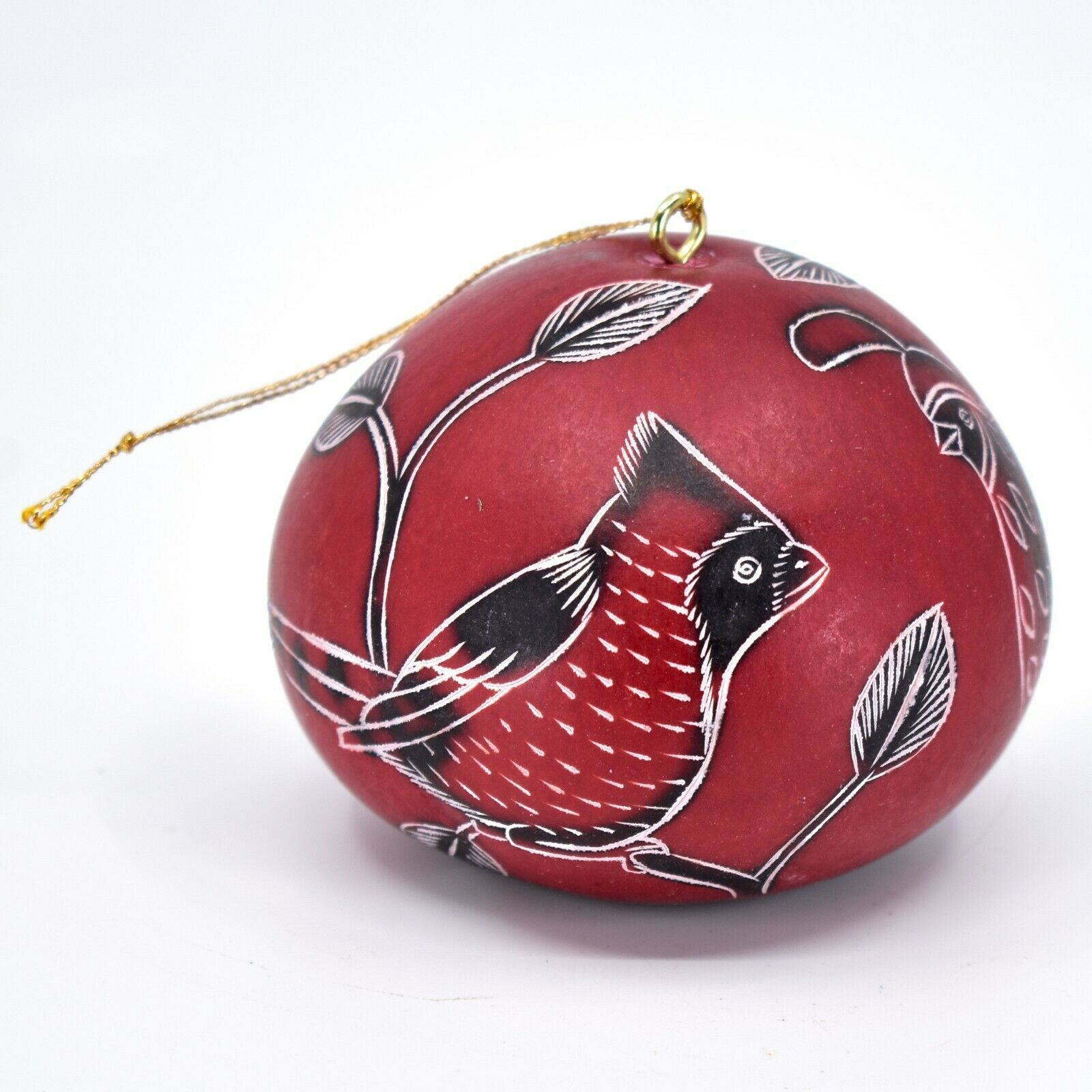 Handcrafted Carved Gourd North American Birds Cardinal Quail Ornament Made Peru
