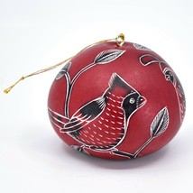 Handcrafted Carved Gourd North American Birds Cardinal Quail Ornament Made Peru image 1