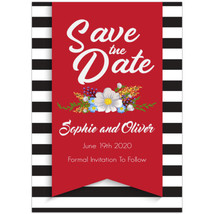 Stripes Black White Red Save The Date Wedding Invitations - £15.51 GBP