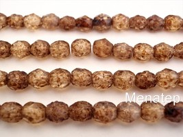 25  6 mm Czech Glass Fire Polished Beads: Crystal - Stone Picasso - $1.75