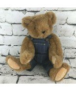 Vermont Teddy Bear Plush Classic Brown Hinged Denim Overalls Stuffed Col... - $24.74
