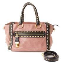 AUTHENTIC PRADA PETARO Studs 2WAY Shoulder Bag BN1808 Pink GRADE AB USED... - $776.48