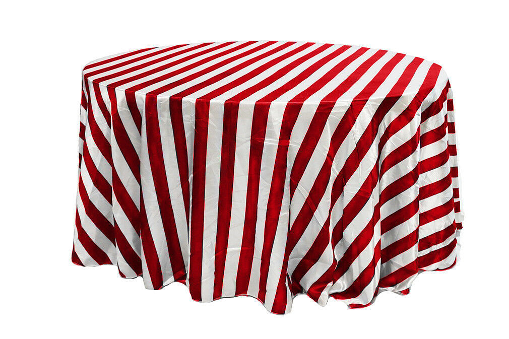 Primary image for Satin Tablecloth Red/White Striped 120 inch Round