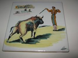 """Vtg Tile Ceramic Trivet Hand Painted Spain 8"""" Bullfighter Matador Bull Y... - $12.86"""
