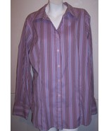 Venezia Shirt 18 / 20 Lavender Purple Striped Stretch Career Church Top ... - $16.50