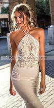 Chiffon Boho Lace Halter Mermaid Beach Bridal Dress image 2