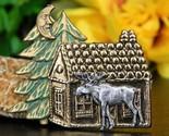 Moose cabin pine tree brooch pin tri color copper silver gold figural thumb155 crop