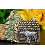 Moose cabin pine tree brooch pin tri color copper silver gold figural thumbtall
