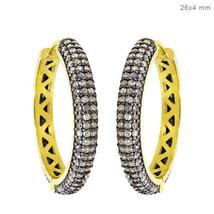 14k Gold Pave 2.6ct Natural Diamond Hoop Earrings Sterling Silver Victorian Look - $429.17