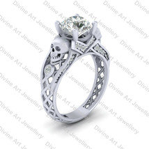 Center Nearly White Moissanite Gothic Skull Wedding Ring Womens Gothic J... - £518.01 GBP