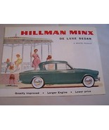 1963  HILLMAN  MINX  SEDAN  OWNER SALES BROCHURE  - $29.99