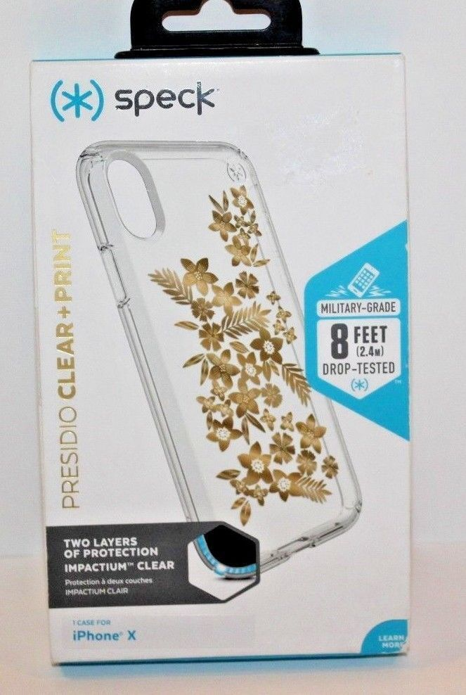 Primary image for Speck Presidio Clear + Print Shimmer Floral Metallic iPhone X Case new