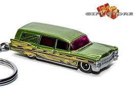 KEY CHAIN 63/64 GREEN CADILLAC FLEETWOOD HEARSE FUNERAL GOTHIC COACH MEA... - $34.98