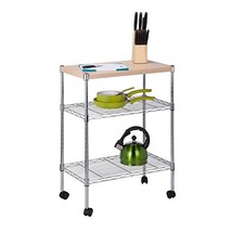 Honey-Can-Do CRT-04346 Rolling Utility Cart with Wooden Top, Chrome Finish - $45.90