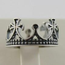 925 Silber Ring Brüniert Krone Mittelalter Vintage-Stil Made in Italy image 2