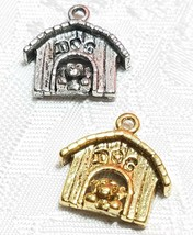 DOG IN DOGHOUSE FINE PEWTER PENDANT CHARM - 16mm L x 15mm W x 5mm D