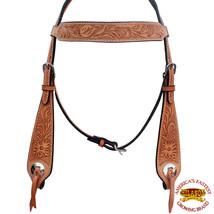 Hilason Western Horse Headstall Bridle American Leather Tan Floral Design U-8-HS - $50.48
