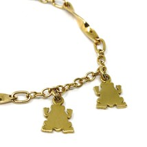 SOLID 18K YELLOW GOLD BRACELET, 4 PENDANTS, FLAT FROG, SPIRAL, ROLO CHAIN image 2