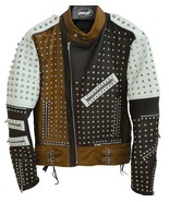 Men's Silver Studded Leather Jacket Men Black/White/Brown biker Leather ... - $289.99