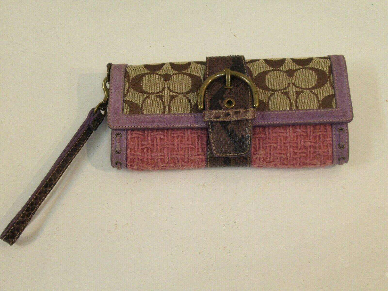 Coach Wristlet Tweed Purple Suede Wallet Buckle Handbag Clutch Monogram C image 2