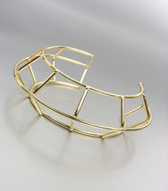 UNIQUE Artisanal Gold Metal Round Ribbed Cage Wire Sculpture Cuff Bracelet - €15,32 EUR