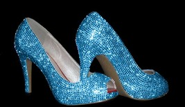 Light Blue Crystal Peep Toe shoes Bling Sparkly Rhinestone Women Heels Wedding - $125.00