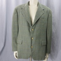 Polo By Ralph Lauren Classic Three Button Sport Coat 44R Grey Plaid Made... - $37.04