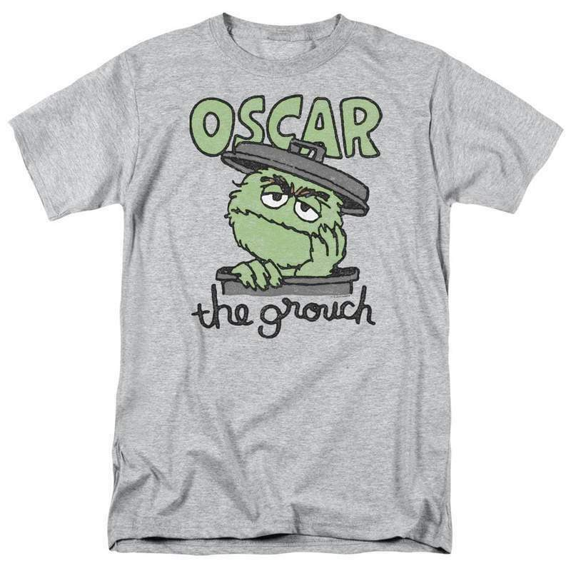PBS Sesame Street Oscar the grouch Retro 60's 70's graphic gray t-shirt SST118